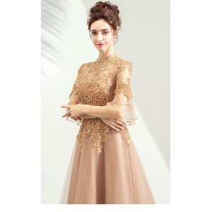 A-Line High Collar Floor-Length Lace/Tulle Prom Dress P1308051