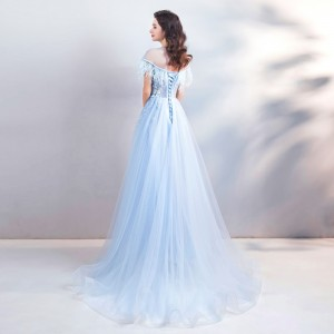 A-Line Jewel-Neck Floor-Length Lace/Tulle Prom Dress P1308060