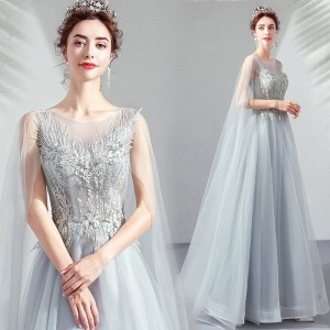 A-Line Jewel-Neck Floor-Length Lace/Tulle Prom Dress P1308068