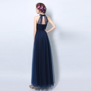 A-Line Halter-Neck Floor-Length Tulle Prom Dress P1308071