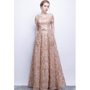 A-Line Jewel-Neck Floor-Length Lace Prom Dress P1309004