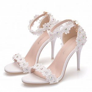 Peep Toe Sandals with Ankle Strap made of Leatherette S1402025