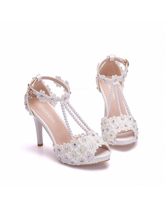 Peep Toe Sandals with Ankle Strap made of Leatherette S1403122