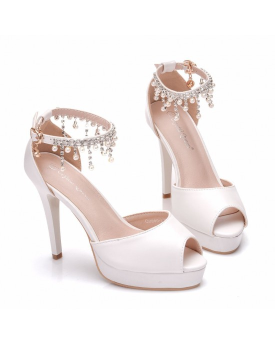 Peep Toe Sandals with Tassel made of Leatherette S1403024