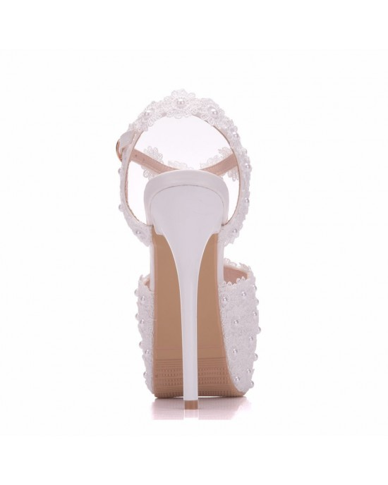 Peep Toe Platform Shoes with Lace made of Leatherette S1403032
