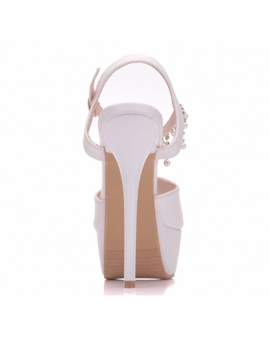 Peep Toe Platform Shoes with Ankle Strap made of Leatherette S1403033