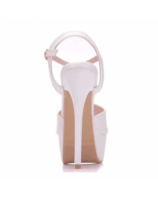 Peep Toe Platform Shoes with Ankle Strap made of Leatherette S1403034