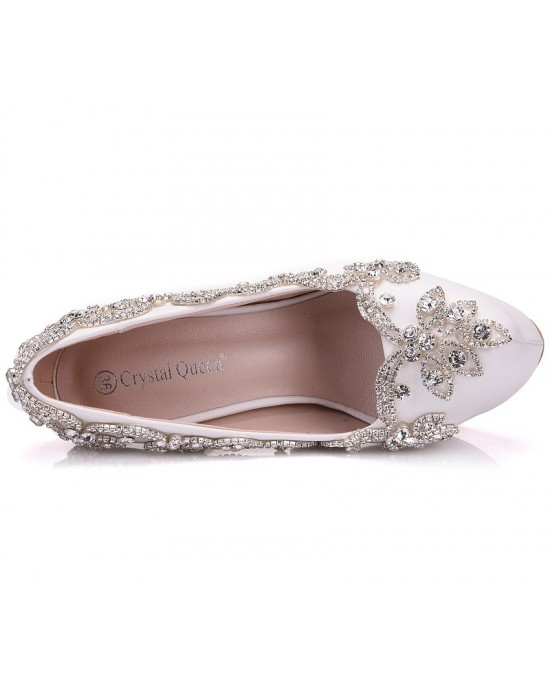 Round Toe Platform Shoes with Crystal made of Leatherette S1403036