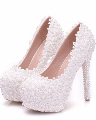 Round Toe Platform Shoes with Lace made of Leatherette S1403084