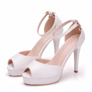 Peep Toe Platform Shoes with Ankle Strap made of Leatherette S1403090