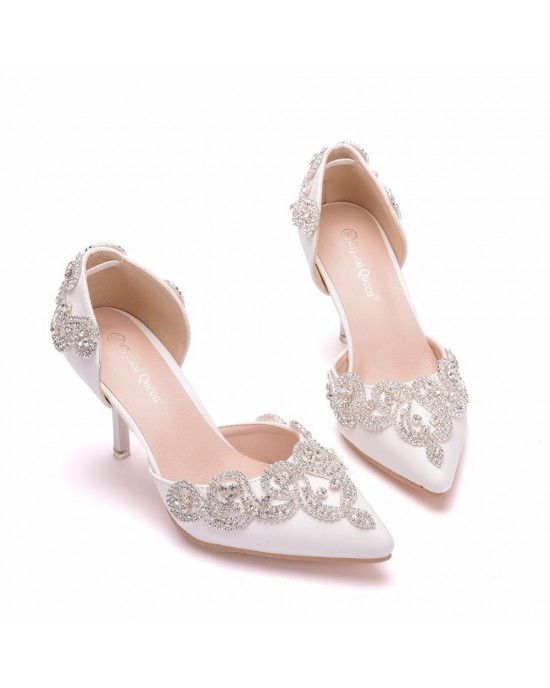 Pointed Toe Pumps with Rhinestone made of Leatherette S1403097