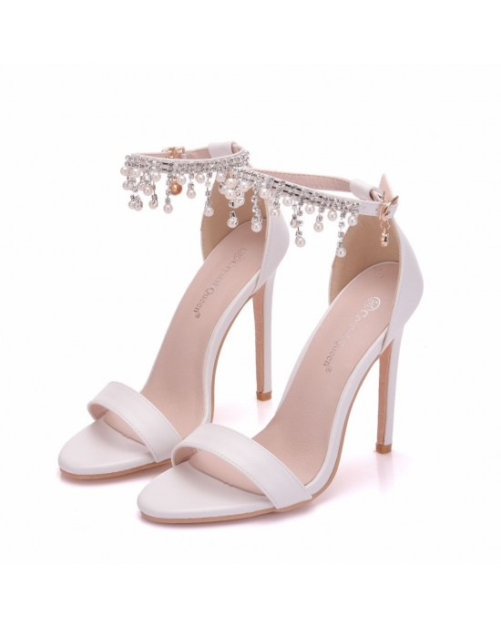 Peep Toe Sandals with Tassel made of Leatherette S1403098