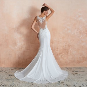 Trumpet/Mermaid-Line Bateau Court-Train Lace/Satin Wedding Dress W1311003
