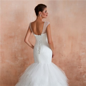 Trumpet/Mermaid-Line V-Neck Chapel-Train Tulle Wedding Dress W1311004