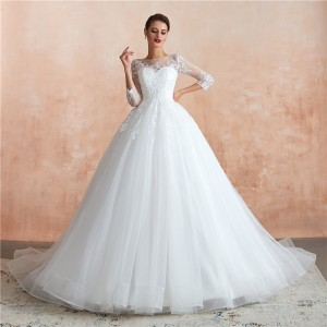 A-Line Sweetheart-Neck Chapel-Train Lace/Tulle Wedding Dress W1311009