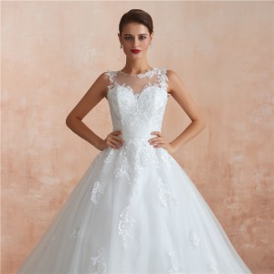 A-Line Jewel-Neck Chapel-Train Lace/Tulle Wedding Dress W1311010