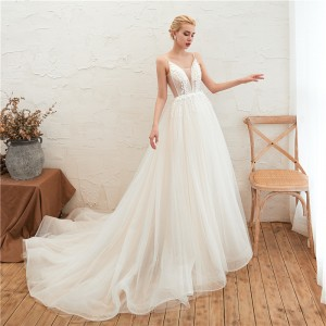 A-Line Spaghetti-Strap Chapel-Train Lace/Tulle Wedding Dress W1311019