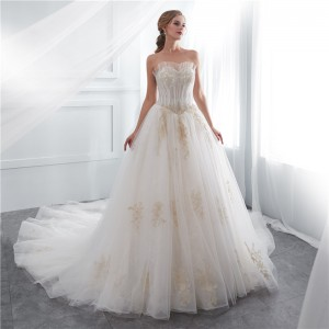 A-Line Strapless-Neck Chapel-Train Lace/Tulle Wedding Dress W1311022