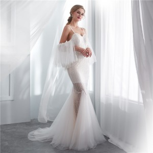 Trumpet/Mermaid-Line Spaghetti-Strap Sweep/Brush Train Lace Wedding Dress W1311026