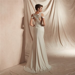 Trumpet/Mermaid-Line V-Neck Sweep/Brush Train Lace/Satin Wedding Dress W1311029