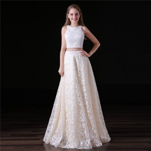 A-Line Jewel-Neck Floor-Length Lace Wedding Dress W1311031