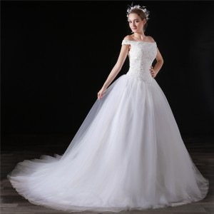 A-Line/Princess-Line Off-the-Shoulder Chapel-Train Lace/Tulle Wedding Dress W1311033