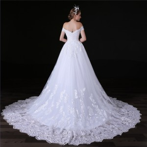 A-Line/Princess-Line Off-the-Shoulder Chapel-Train Lace/Tulle Wedding Dress W1311034
