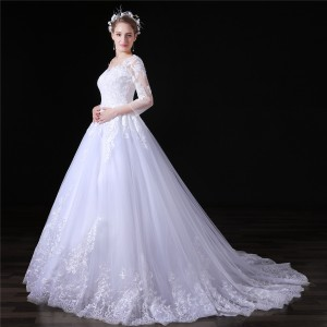 A-Line V-Neck Chapel-Train Lace/Tulle Wedding Dress W1311035