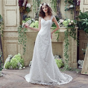 Trumpet/Mermaid-Line Sheer/Illusion-Straps Court-Train Lace/Tulle Wedding Dress W1311039