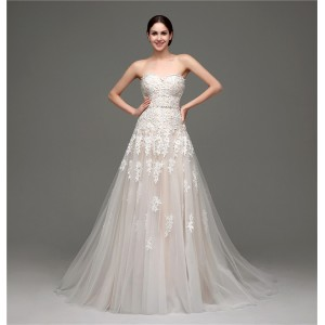 A-Line Strapless-Neck Court-Train Lace/Tulle Wedding Dress W1311041