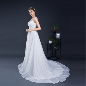 A-Line Spaghetti-Strap Court-Train Lace/Tulle Wedding Dress W1311042