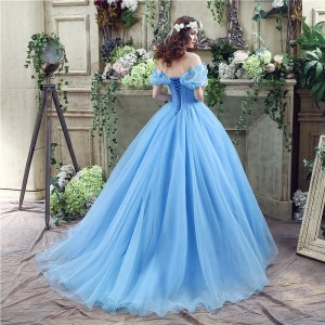 A-Line/Princess-Line Off-the-Shoulder Court-Train Tulle Wedding Dress W1311043