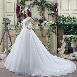 A-Line/Princess-Line Scoop-Neck Chapel-Train Lace/Tulle Wedding Dress W1311044