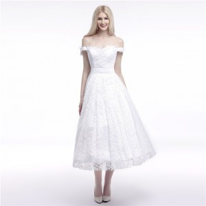 A-Line Off-the-Shoulder Tea-length Lace/Tulle Wedding Dress W1311045