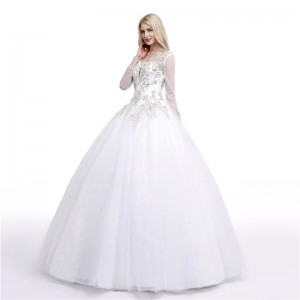 A-Line/Princess-Line Jewel-Neck Floor-Length Lace/Tulle Wedding Dress W1311046