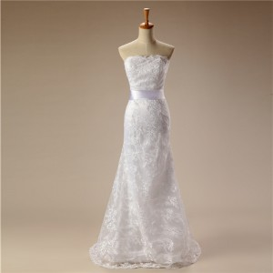 Trumpet/Mermaid-Line Sweetheart-Neck Sweep/Brush Train Lace/Tulle Wedding Dress W1311050