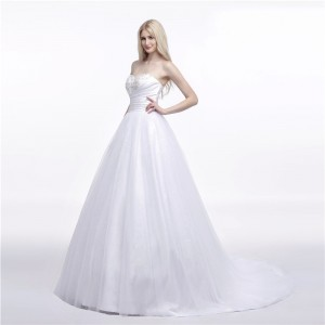 A-Line/Princess-Line Sweetheart-Neck Sweep/Brush Train Lace/Tulle Wedding Dress W1311051