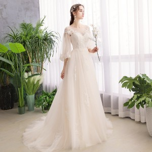 A-Line Scoop-Neck Sweep/Brush Train Lace/Tulle Wedding Dress W1311063