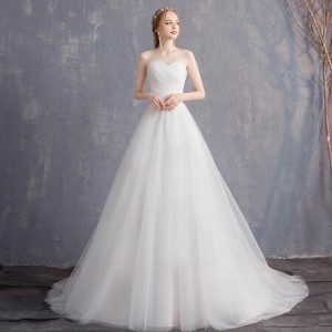 A-Line Strapless-Neck Sweep/Brush Train Tulle Wedding Dress W1311071