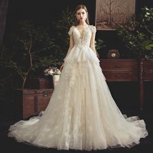 A-Line/Princess-Line V-Neck Spaghetti-Strap Chapel-Train Lace/Tulle Wedding Dress W1311081
