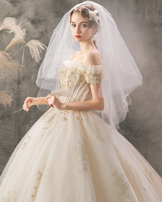 Ball-Gown/Princess-Line Bateau Cathedral-Train Lace/Tulle Wedding Dress W1311082