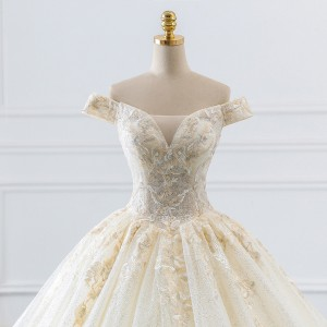 Ball-Gown/Princess-Line Bateau Cathedral-Train Lace/Tulle Wedding Dress W1311083