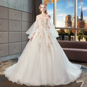 Ball-Gown/Princess-Line Bateau Cathedral-Train Lace/Tulle Wedding Dress W1311084