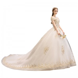 Ball-Gown/Princess-Line Bateau Cathedral-Train Lace/Tulle Wedding Dress W1311093