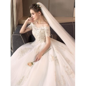 Ball-Gown/Princess-Line Bateau Cathedral-Train Lace/Tulle Wedding Dress W1311095
