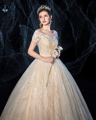 Ball-Gown/Princess-Line Scoop-Neck Floor-Length Lace/Tulle Wedding Dress W1311125