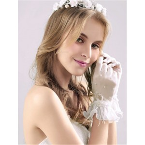 Lace Wrist Length Bridal Gloves HAP9006
