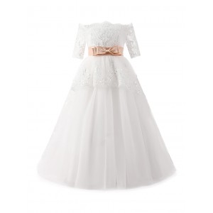 A-Line Floor-Length Flower Girl Dress - Lace/Tulle 1/2 Sleeves Off-the-Shoulder