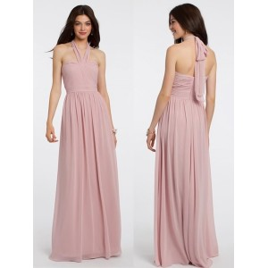 Sheath/Column-Line Halter-Neck Floor-Length Chiffon Bridesmaid Dress GIF62C