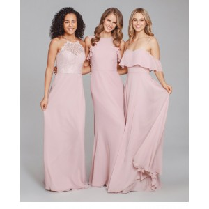Sheath/Column-Line Halter-Neck Floor-Length Chiffon Bridesmaid Dress GIF64A